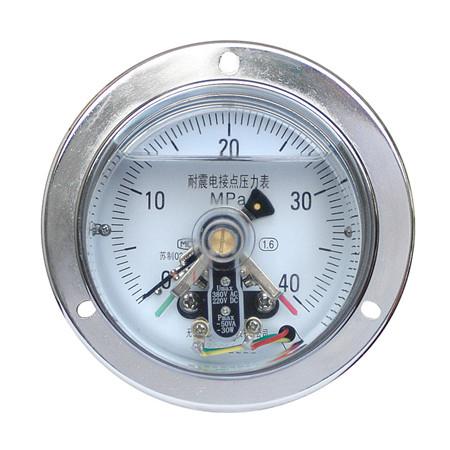 YXC-100-ZⅢ轴向带边耐震电接点压力表